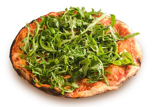 Pizza rossa con rughetta
