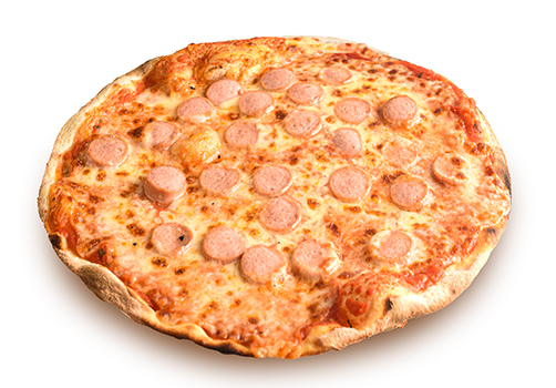 Pizza rossa con würstel