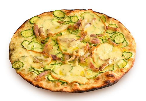 Pizza bianca con zucchine, provola e guanciale