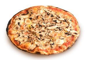 Pizza rossa con funghi